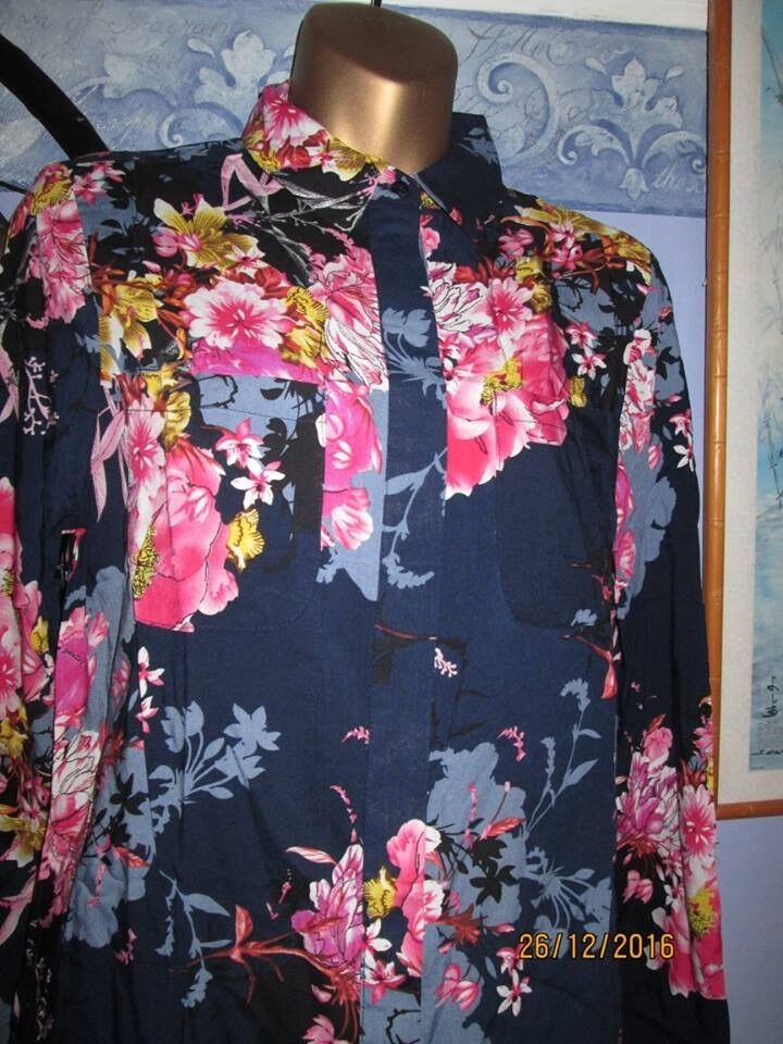 NAVY FLORAL PATTERN SHIRT / BLOUSE LONG SLEEVES SIZE 12/14 BRAND NEW