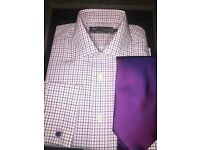 M&S mens shirt and tie size . non iron.