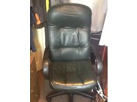 Chair dark green leather