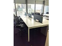 FREE DELIVERY - 6 Person White Office Bench Desk