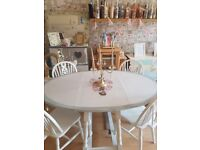 stunning shabby chic oval folding table with four chairs