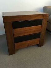 1 x BEAUTIFUL NEW DARK WOOD & BLACK GLASS BEDSIDE LAMP OR SIDE TABLE Casuarina Kwinana Area Preview