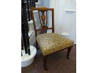 Antique Edwardian walnut inlaid nursing / bedroom/ hall chair. - Edinburgh