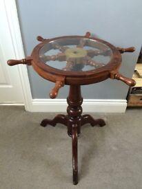 Upcycled Oak boat wheel table