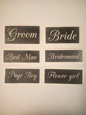 Wedding word stencil for etching glass  Bride Groom Best Man flower girl mixed