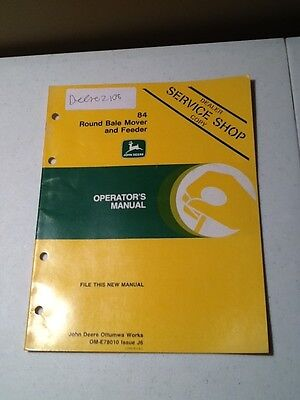 John Deere 84 Round Bale Mover And Feeder Operators Manual Oem