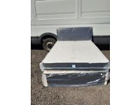Black .. Grey Double Bases with Headboard and Mattresses .. Delivery Available ..