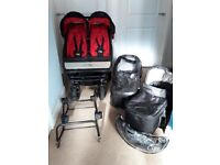 MOUNTAIN BUGGY DUET + x2 CARRY COTS, RAIN COVER, SUN VISOR, x2 WINTER MUFF x2 MAXI COSI ADAPTAORS