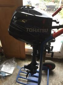 TOHATSU 3.5 HP OUTBOARD MOTOR - LESS THAN 10 HOURS USE IN THE LAST ONE AND A HALF YEARS.