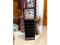 VINTAGE STYLE WOODEN LETTER RACK CLOCK- NEW SAVE %%%%