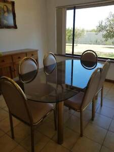 Dining Suite - Glass Top Oval Table 6 Dining Chairs - Used