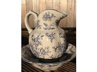 Beautiful ornate water jug & dish with blue print design. £30