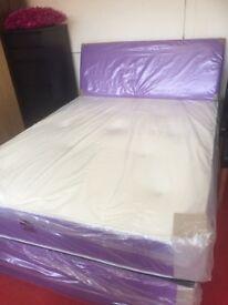 Purple double divan bed