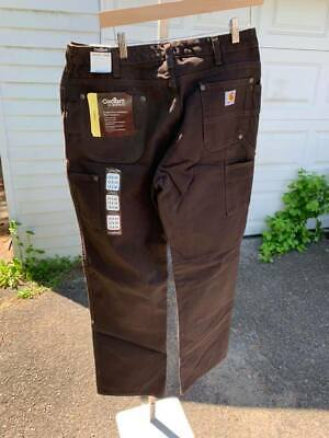 NWT Carhartt Womens Double Front Sandstone Work Dungaree Dark Brown 12 x 34 (AR) Double Front Sandstone Work Dungaree