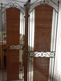 Wrought iron and rattan three foldable panel screen / room divider
