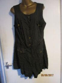 BLACK POLKA DOT SHORTS ALL IN ONE PLAY SUIT SIZE 16 BY RIVER ISLAND GREAT FOR HOLIDAY