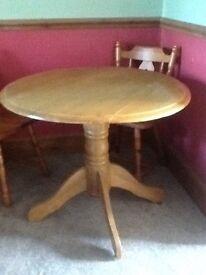 Vintage Round Pine Table