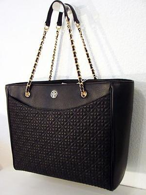 NEW $575 Tory Burch Bryant E/W Quilted Stitched Black Tote Shoulder bag