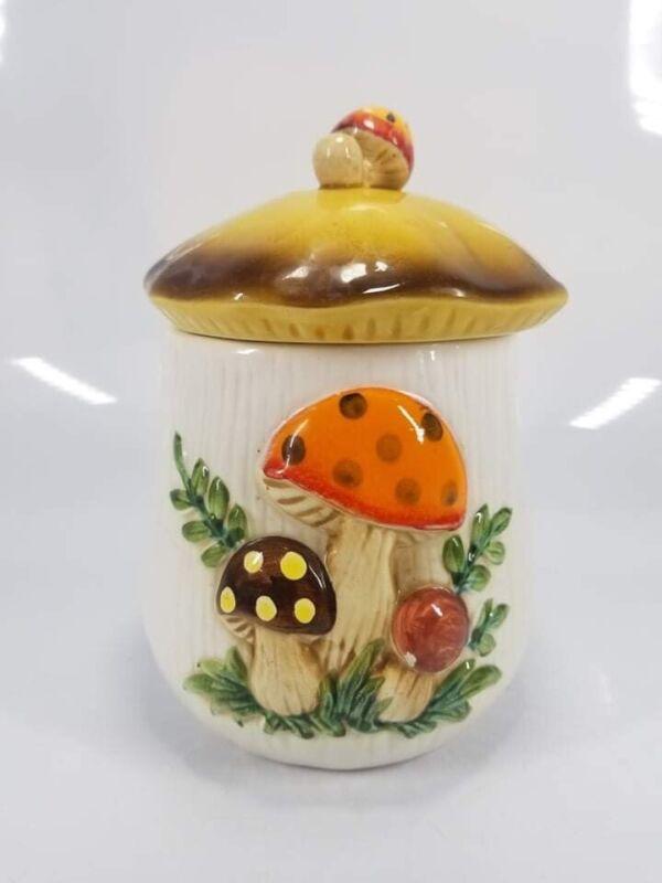 """Vintage SEARS 1978 MERRY MUSHROOM  6 1/2"""" Tall Canister/Cookie Jar And Lid"""