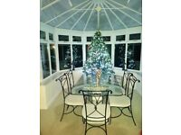 Glass Dinning Table & 6x Iron Chairs