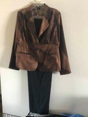 Courtenay Womens Pant Suit Size 16 Brown & Black Pattern 2-Pc Business