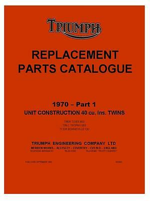 Triumph Tiger TR6R 650 1970 Replacement Parts Catalogue Manual Motorcycle on CD