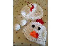 crocheted Chicken 4 piece Baby Costume/Photo prop