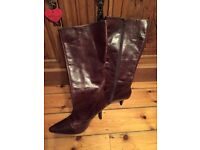 Knee high leather boots, size 7