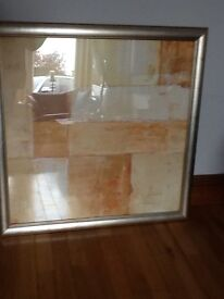 Two Large Abstract art Prints with Gold/Silver Picture Frames
