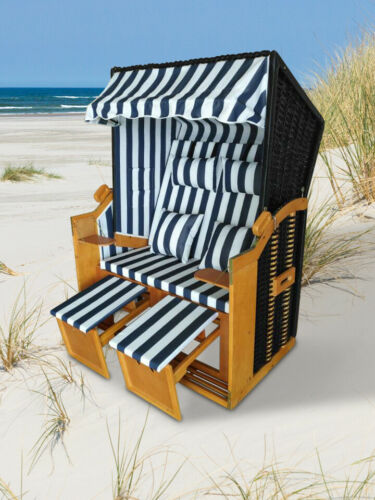 "Home>it® Premium Rattan Strandkorb ""Ostsee-XL"" 118 cm 2-Sitzer mit Kissen"
