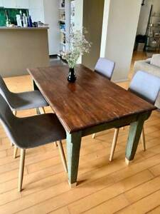 Unique reclaimed dark wooden dining table - fits 6