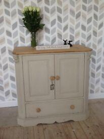 Pine shabby chic tv/ storage cabinet