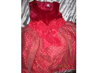 GIRLS RED VELVET WITH GOLD POLKA DOT NETTING OVER THE SKIRT PARTY DRESS AGE 7 YEARS