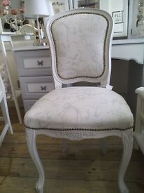 Amazing Reupholstered and painted Chair in French style.