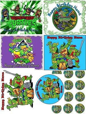 EDIBLE CAKE TOPPER NINJA TURTLES PARTY IMAGE PHOTO  ICING SUGAR SHEET CUPCAKES ](Edible Ninja Turtle Cupcake Toppers)