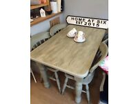 Beautiful Painted Dining Table and Set of 4 Chairs