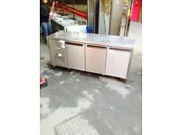 COMMERCIAL BENCH COUNTER 3 DOORS BENCH FRIDGE FOR SHOP CAFE RESTAURANT TAKEAWAY PREP COUNTER FRIDGE
