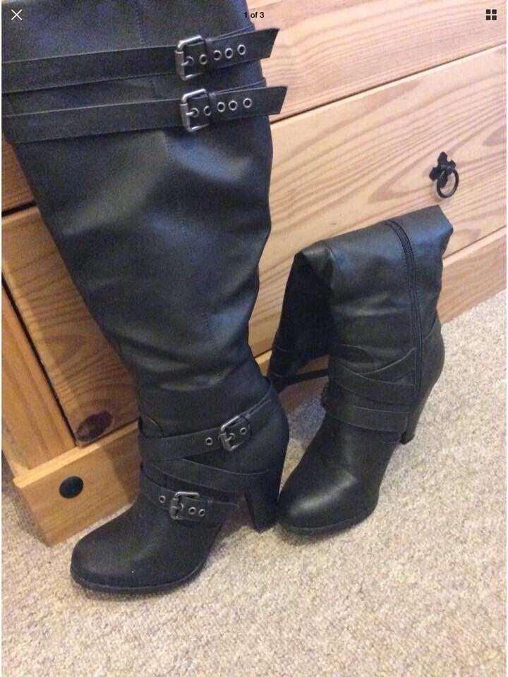 a43e6d9e56c Just Fab Black High Heel Boots Size 6