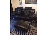 3 and 2 seater real leather sofa,footstool not included,ready to go