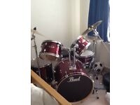 Pearl Fusion drum kit, 10,12,14,20,14 snare in red