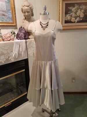 1920s Style Purses, Flapper Bags, Handbags Ladies Vintage 1920's Style Silver Satin Flapper Dress-Jewelry-Gloves-Purse Sz M $55.00 AT vintagedancer.com