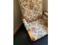 Patterned Comfy Fabric Covered Armchair