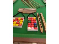 9ft by 4ft 6in slate pool/ snooker table and assessories ,