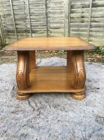 Solid heavy carved oak coffee table - Can deliver if required.