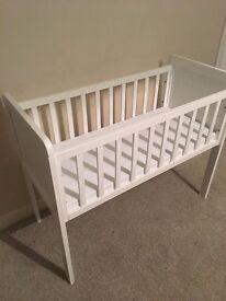 Basically new white baby cradle