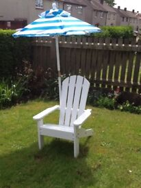 New White Wooden Chair & Parasol