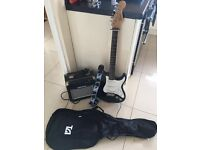 Fender Squier Strat with all leads, amp, case and strap