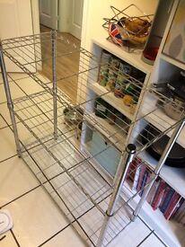 Metal kitchen shelf unit