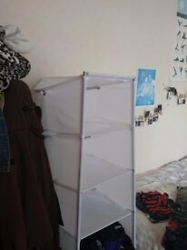 IKEA movable white fabric shelves for clothes