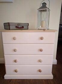 Pine drawers painted in cream top sanded bare and waxed for protection